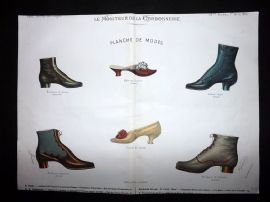 Le Moniteur de la Cordonnerie 1887 Rare Hand Colored Shoe Design Print 62